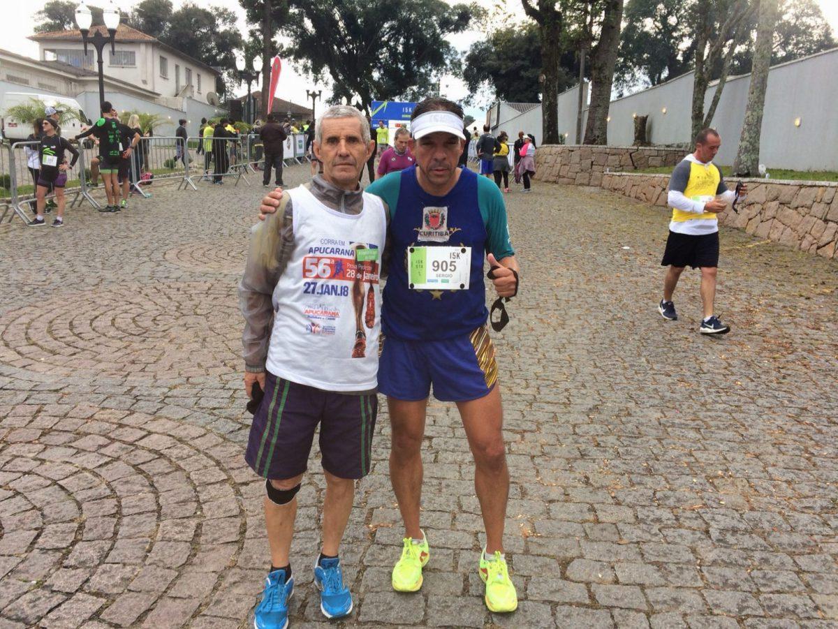 atleta ACD Sérgio Luiz (deficiente visual) e seu guia Eloi Andrade.