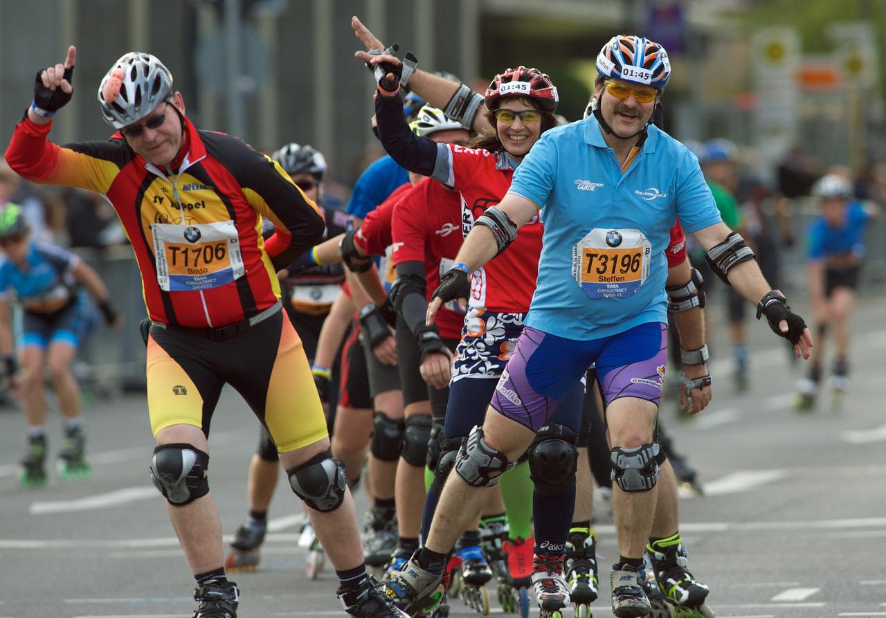 Assim como a corrida, andar de patins dá mais força aos músculos dos membros inferiores Foto: Divulgação Maratona de Berlim