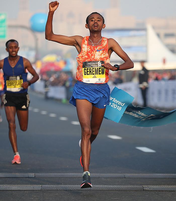 Geremew nos 42km de Dubai Foto: Divulgação maratona/G.Giancarlo Colombo