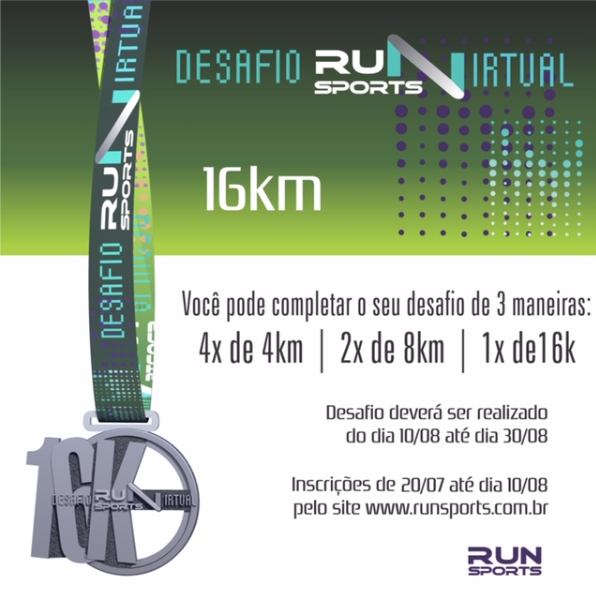 Desafio Run Sports Virtual 16k, veja opções para completar a prova