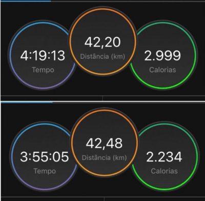 Evolução do tempo de Tati nas duas maratonas Foto: Arquivo Pessoal