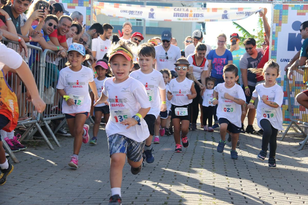 O Ironkids 70.3 rolou em Floripa e fez a criançada correr muito | Foto: Divulgação